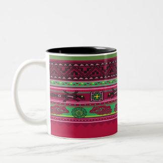Tasse à deux tons décorative multicolore du