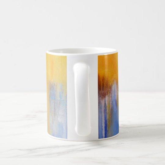 Tasse abstraite bleue et jaune organique