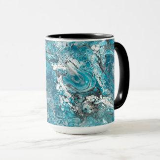 Tasse abstraite bleue et noire audacieuse