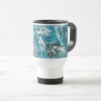 Tasse abstraite bleue et noire audacieuse de
