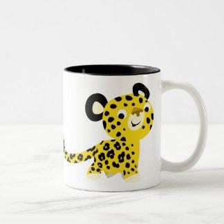 Tasse amicale de léopard de bande dessinée