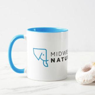 Tasse blanche bleue de logo de MMNH