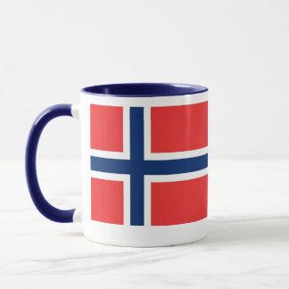 tasse blanche/bleue Norvège de 11ox de sonnerie et