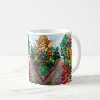 Tasse blanche classique d'aquarelle de paysage