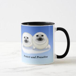 Tasse blanche de bébés phoques