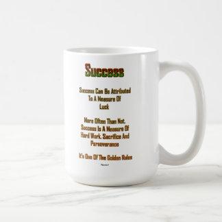 Tasse blanche en céramique du succès 15oz