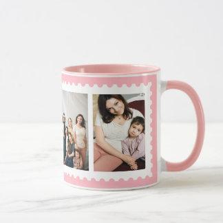 Tasse blanche rose de photo de famille du cadre 4