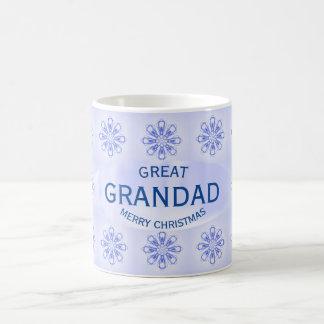 Tasse bleue de flocon de neige de grand papy de