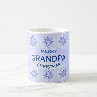 Tasse bleue de flocons de neige de grand-papa de
