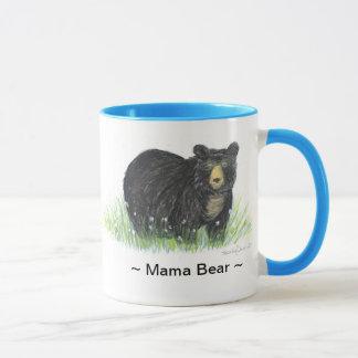 Tasse bleue d'équilibre d'ours noir de ~ de maman