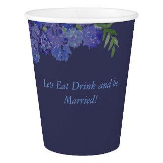 Tasse bleue d'hortensia gobelets en papier