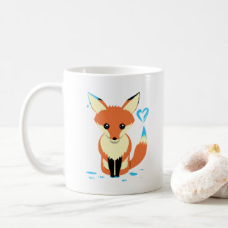 Tasse bleue mignonne de peinture de coeur de Fox