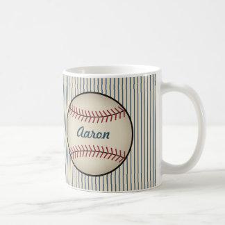 Tasse bleue personnalisée de base-ball
