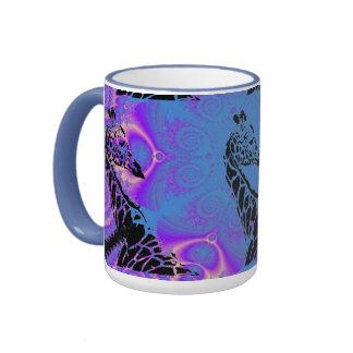 Tasse bleue pourpre de sonnerie de ~ de girafe de