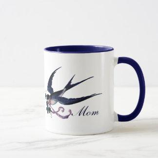 Tasse bleue vintage de maman d'oiseau d'hirondelle