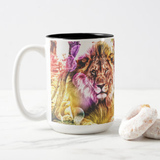 Tasse brillamment colorée de lion de deux tons