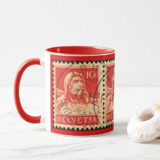 Tasse chaude de boissons avec un timbre-poste 1921