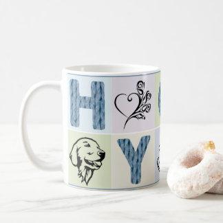 Tasse chaude et de hygge (lettres et pastels