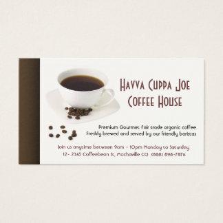Tasse coeur de café et de grains de café cartes de visite