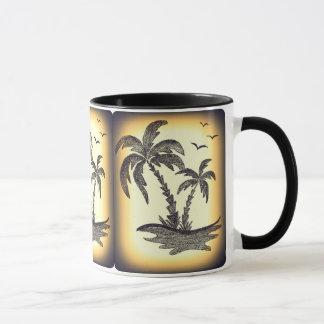 Tasse combinée noire avec des palmiers