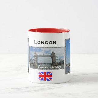 Tasse combinée rouge de Londres de panneau de