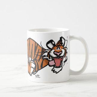 Tasse courante de tigre de bande dessinée