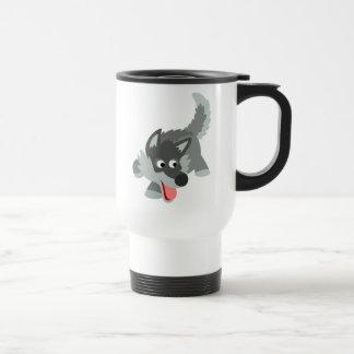 Tasse curieuse mignonne de banlieusard de loup de