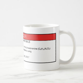 Tasse d'avertissement de caféine chimique