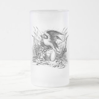 Tasse de bière vintage en verre givré d'Eagle