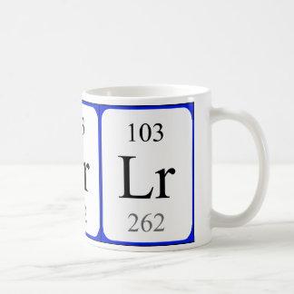Tasse de blanc de l'élément 103 - Lawrencium