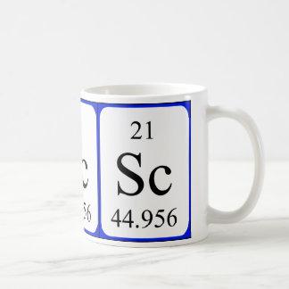 Tasse de blanc de l'élément 21 - scandium