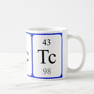 Tasse de blanc de l'élément 43 - technétium