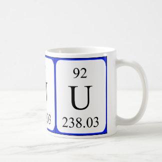 Tasse de blanc de l'élément 92 - uranium