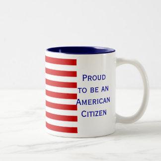 Tasse de café américaine de ton du drapeau deux de