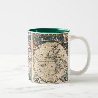 Tasse de café ANTIQUE de CARTE du MONDE