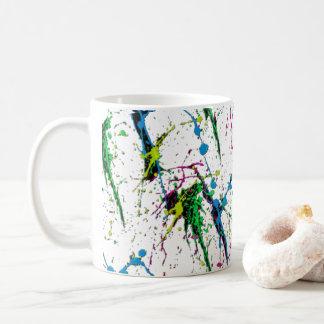 Tasse de café au néon d'éclaboussure de peinture