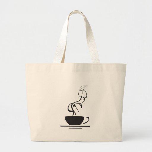 Tasse de café avec la vapeur sac en toile
