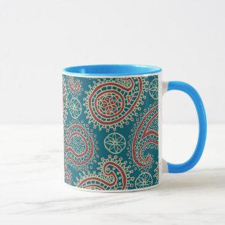 Tasse de café beige bleue rouge de sonnerie de
