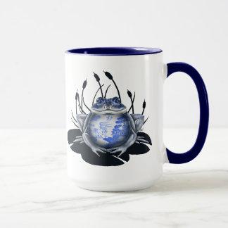 Tasse de café bleue de grenouille de Taureau de