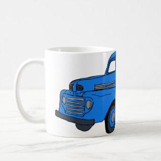 Tasse de café bleue vintage de camion/tasse