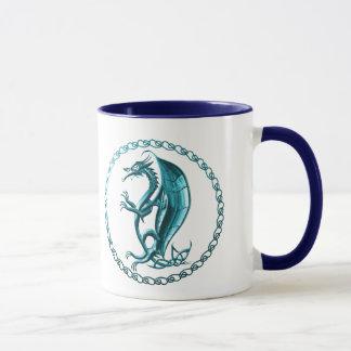Tasse de café celtique bleue de dragon