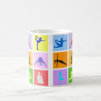 Tasse de café colorée de 9 poses de yoga