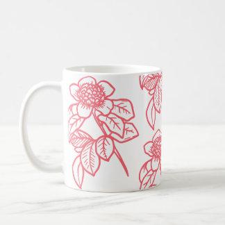 Tasse de café colorée par corail de tournesol