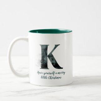 Tasse de café d'alphabet de la lettre K de Noël