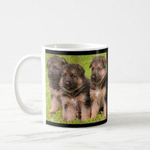 Tasse de café de chiots de berger allemand d'amour