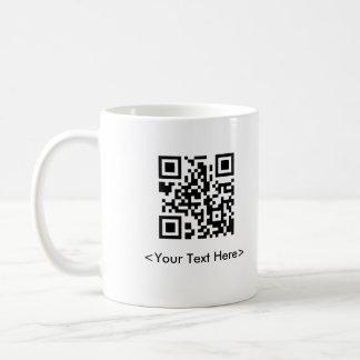 Tasse de café de code de QR avec le texte Editable