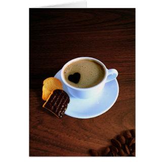 Tasse de café de coeur - carte de voeux