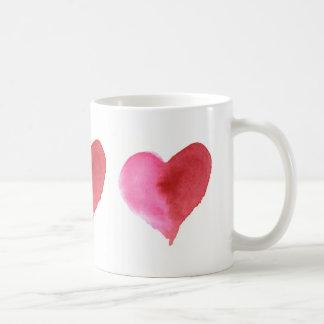 Tasse de café de coeurs d'aquarelle