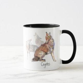 Tasse de café de coyote d'hurlement