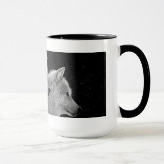 Tasse de café de deux loups gris